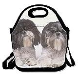 Dozili Hohoto Lunchtasche mit zwei Shih Tzu Hunden aus Neopren, groß, dick, isolierte Lunch-Tasche, Kühltasche, warm, mit Schultergurt, für Damen, Teenager, Mädchen, Kinder, Erwachsene