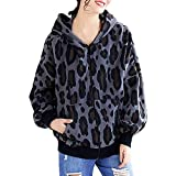 TianWlio Jacken Parka Mäntel Herbst Winter Lange Ärmel Leopard mit Kapuze Postleitzahl Oben Tasche Jackenmantel (L, Marine)