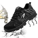 Gainow Damen Herren Arbeitsschuhe Stahlkappe Sicherheitsschuhe Sportlich 200J Leicht Stahlkappe Atmungsaktiv Schutzschuhe Trekking Wanderhalbschuhe Hiking Schuhe Traillaufschuhe (43 EU, Schwarz)