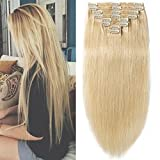 Clip in Extensions Set 100% Remy Echthaar 8 Teilig 130g-160g Haarverlängerung dick Dopplet Tressen Clip-In Hair Extension ( 35cm-120g, #613 hellblond)