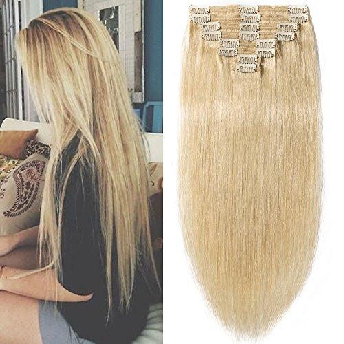 100% Remy Echthaar Clip in Extensions Echthaar 8 Teilig Haarverlängerung dick Dopplet Tressen ( 50cm-150g, #613 hellblond)