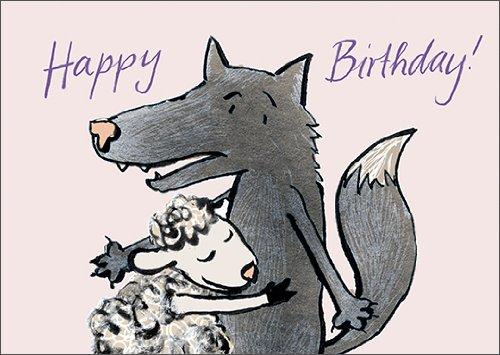 Happy Birthday! Schön illustrierte Geburtstagskarte mit Wolf und Schaf • auch zum direkt Versenden mit ihrem persönlichen Text als Einleger.