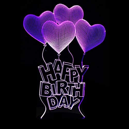 Happy Birthday 3D Vision Led Usb Nachtlicht 7 Farbe Lampara Atmosphäre Stimmung Tischlampe Herz Ballon Licht Erstaunliches Geschenk