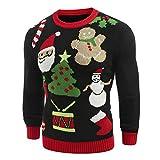 Quaan-Herren Männer Weihnachten gedruckt Winter Pullover Strick Top gestreiften Pullover Outwear Bluse