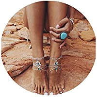 Pearlplus 2Pcs Women's Vintage Sexy Folk Style Turquoise Drop Chain Link Tassels Anklet