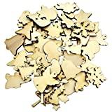 50pcs Mixed Wooden Christmas Shapes Embellishment Blank Xmas Tree Decoration