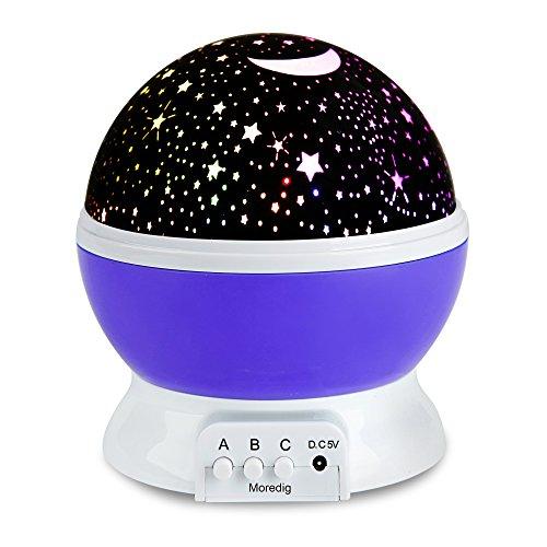 Projektor lampe ,LED Star Projector um Romantische Nacht Lampe 360 Dreht Grad Sternenhimmel Projektor 4 pcs LED-Kornen Perfekt für Geburtstag, Parteien, Kinder Zimmer, Hochzeit (Lila)