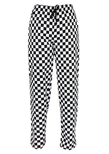 Köche Hose, Gummizug Hose Schachbrett Print Karierte Schlafhose Köche, ins14b Gr. L/36-38W, schwarz / weiß (Jacke Houndstooth Check)