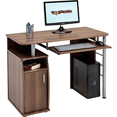 Kompakter Computer Schreibtisch Arbeitsplatz mit Schrank Regalfach in Dunkle Walnuss Piranha Furniture PC 1w - 1 Walnuss