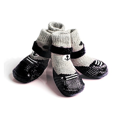 TJW 4Stück Antirutsch-Socken für Haustiere, Hunde, für Haustiere, mit Schutz, wasserdicht, robust, Stiefel Regen-Stiefel, wasserdicht - Regen-socken Hund
