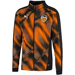 Puma Valencia CF Stadium Jacket Chaqueta De Entrenamiento, Hombre, Negro Black-Vibrant Orange, L