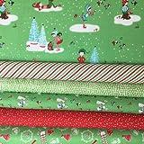 Tissu de Noël de Noël Bundle–Pixie–Fat Quarter Bundle 55cm x 50cm Pièces–par Riley Blake RBFB234 GREEN