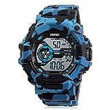 Bozlun Armbanduhr für Sport ,Stoppuhr für Teenager Military, LED Blue Camouflage