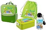 Mein Zwergenland Set 5 Kindergartenrucksack mit Brotdose, Turnbeutel aus Baumwolle und Trinkflasche Happy Knirps Next mit Name Bagger, 4-teilig, Grün