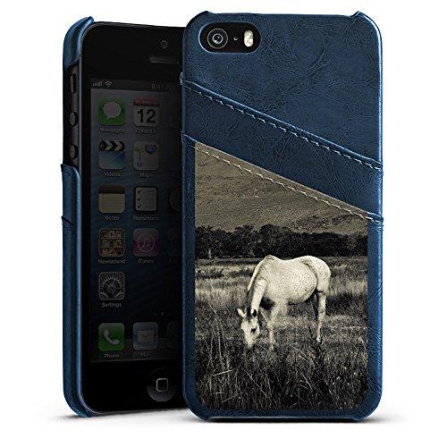 Apple iPhone 4 Housse Étui Silicone Coque Protection Cheval Jument Étalon Étui en cuir bleu marine