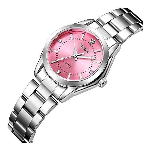 SUNWH Damen Uhr Analog Quarz mit Edelstahl Armband S-04f