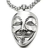 COOLSTEELANDBEYOND Acciaio Inossidabile Clown Maschera Ciondolo, Collana con Pendente da Uomo Donna, con Catena Grano 75CM