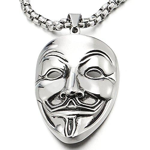 Edelstahl Clown Maske Anhänger Herren Damen Halskette mit 75cm Stahl Weizen-Kette