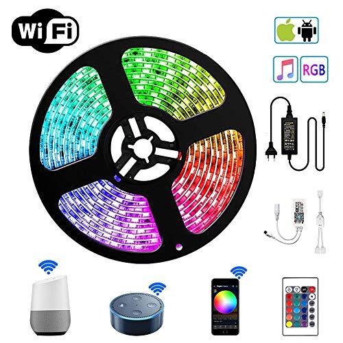 LED Stripes Streifen Bänder Farbwechsel Selbstklebend Lichtband mit Ferbedienung und Smart WiFi Kontroller, steuerbar via App, 12V 24W für Haus, Garten, Dekoration EINWEG (5m) (Wireless-led-smart-tv)