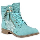 Damen Stiefeletten Worker Boots Leder-Optik Knöchelhohe Stiefel Camouflage Booties Bockabsatz Gr. 36-42 Schuhe 144301 Hellgrün 41 Flandell