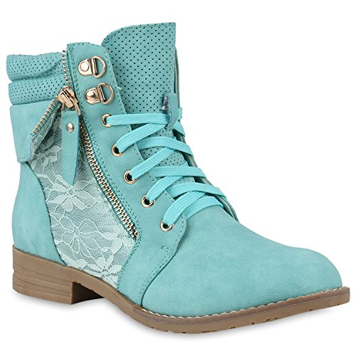 Damen Stiefeletten Worker Boots Leder-Optik Knöchelhohe Stiefel Camouflage Booties Bockabsatz Gr....