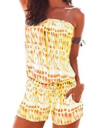 4db84805de Vincenza Women s Womens Playsuit Backless Summer Short Bandeau Summer  Strapless Jumpsuits All in One Size 6