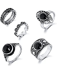 Shining Diva Fashion Antique Set of 5 Knuckle Midi Finger Rings for Girls and Women