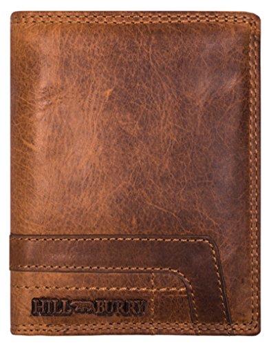 Hill Burry Herren Echt-Leder Geldbörse | Vintage Leder Portemonnaie - Brieftasche Portmonee Geldbeutel - aus hochwertigen weichem Vollleder - Wallet | Hochformat (Braun) - Echte Leder-geldbörse