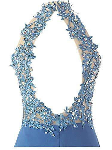 JAEDEN Donna Senza schienale Chiffon Abiti da ballo Lungo A-linea Halterneck Abiti da sera Vestito da festa Blu scuro