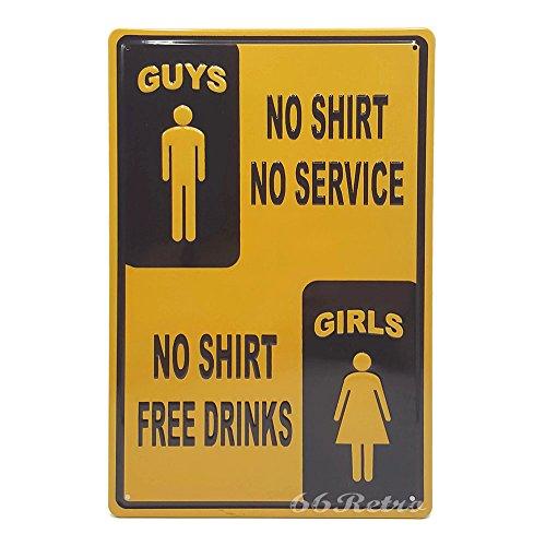 Service, Mädchen kein Shirt frei Getränke, Retro geprägt Metall blechschild, Wand Deko Schild, 20cm x 30cm (Baby Gap Halloween)