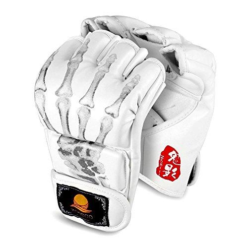GranVela® ZOOBOO Boxhandschuhe, Kampfsport MMA Muay Thai Training Boxsack Halb Mitts Sparring Boxhandschuh-Gym-Handverpackungen (Weiß)