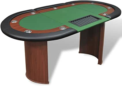 Anself 10-Player Poker Table with Dealer Area and Chip Tray Green