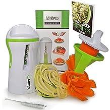 kitchen-nv ®–3en 1Spiralizer–Pelador de libre E-BOOK & cepillo–Garantía de por vida–Veggie Spiralizer–cookware company para pasta de calabacines para espaguetis eléctrica–verduras en espiral