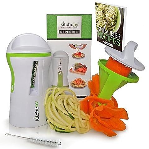 Kitchen-nv Spiraliseur®–3en 1–gratuit Éplucheur e-book et brosse–Garantie à vie–Veggie Spiralizer–courgettes Pâtes Spaghetti Maker–Légumes spirale