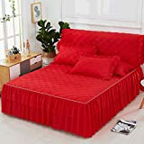 WHoIppRmOrella einfarbig aus Einzel doppel Spitze bedskirt Hochzeit Prinzessin matratzenbezug Petticoat röcke bettdecke Elastische Bett Volant-red-1 stück 120 x 200 cm Bett Rock