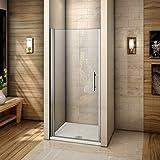 Porte de douche 76x195cm Porte pivotante en niche verre anticalcaire