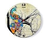 Kolorobia Peacock Glass Clock (Cream)