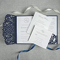 SAMPLE/50/100 DIY Set Laser Cut Navy Blue Wedding Invitation Pocket with 4 Inserts