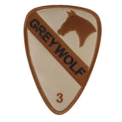 Desert DCU US Army 3rd Brigade Combat Grey Wolf 1st Cavalry Division Green Sew Iron on Aufnäher Patch (Army Desert Uniform)