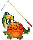 2 tlg. Set: Papier Laterne / Lampion + Laternenstab - Dinosaurier Dino - für Kinder Papierlaterne - Laternen Lampions - Bunte Dinos - für Laternenumzug - Mädchen Jungen