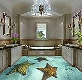Yosot Benutzerdefinierte 3D Stereo Licht Blau Starfish 3D Boden Malerei Hintergrund Wand Wohnzimmer Schlafzimmer Bodenbelag Wandbild Tapete-400Cmx280Cm