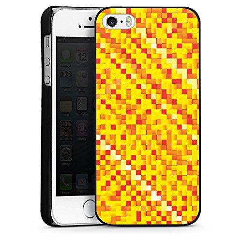 Apple iPhone 5s Housse Étui Protection Coque Motif Motif Pixel CasDur noir
