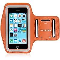 MoKo Protettivo Sports Armband per iPhone SE / 5 / 5S / 5C - Bracciale con Slot Portachiavi, Resistente all'acqua, Prova di Sudore, Collegamento Auricolare Perfetto, ARANCIO - Prova Perfetta