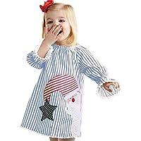 Longra★☛☛❤❤Cute Baby Girl Toddler Kids Baby Girls Santa Princesa Rayada Vestido Trajes de Navidad Ropa