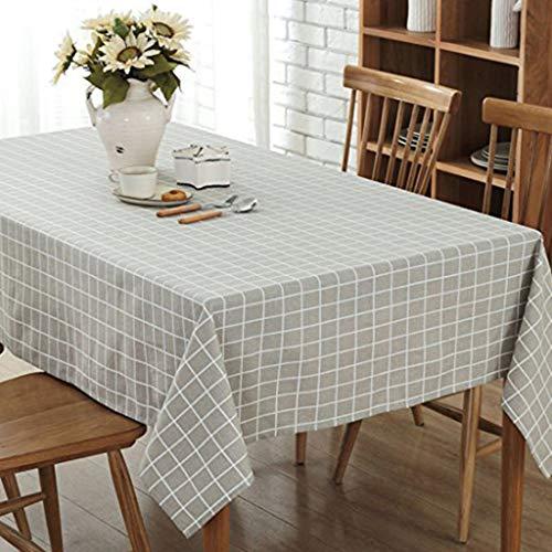 GWELL Leinen Tischdecke Eckig Abwaschbar Tischtuch Pflegeleicht Schmutzabweisend 10 Größe wählbar graue Karos 100 *...
