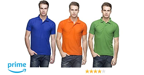 c40c716cc1930 Kalpit Men's Comfort Soft Premium Cotton Plain Polo Collar Half Sleeve T- Shirt with Solid Color t-Shirts for Mens Available in 2pcs Combo & 3pcs  Combo [Free ...
