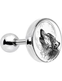 """Body Candy Stainless Steel Black and White Howling Wolf Tragus Cartilage Earring 16 Gauge 1/4"""""""