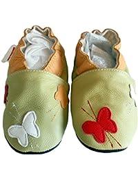 """""""Olive Butterflies"""" de BBKDOM- Chaussons bébé et enfant en cuir souple de qualité supérieure Fabrication Européenne de 0-5 ans"""