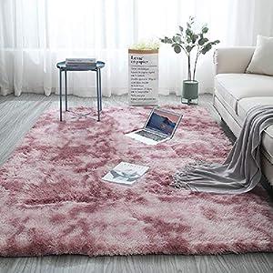 Blivener Plüschteppich Tie-Dye allmählicher Teppiche Hochflor Shaggy für Wohnzimmer Schlafzimmer Kinderzimmer Esszimmer Auto Bettvorleger Sofa Matte Rosa 160 x 200 cm
