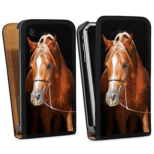 Apple iPhone 4 Housse Étui Silicone Coque Protection Cheval Cheval Jument étalon Sac Downflip noir